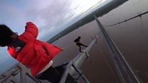 'Urban explorers' scale Humber Bridge