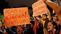 Anti-Temer protest blocks Sao Paulo street