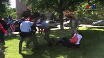 """El """"brutal ataque"""" de los guardaespaldas del presidente de Turquía, Recept Tayyip Erdogan, a unos manifestantes en Washington"""