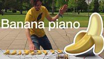 Making music with a banana piano