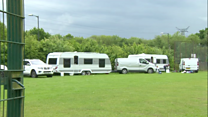 Travellers camp on school field