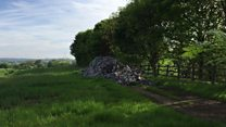 Rubbish dumped off country lane