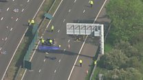 Aerial footage of M6 crash scene