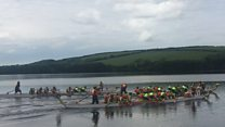 Dragon boats roar into reservoir