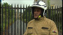 Children 'on hospital roof' before fire