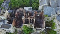 Aerial images of hospital fire damage