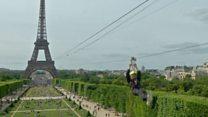 Новый аттракцион в Париже: с Эйфелевой башни по канату