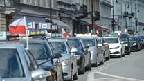 Poland taxis in anti-Uber protest