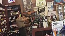 Peacock trashes liquor store in California