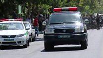 Security and ambulances at Iran's parliament