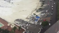 Cape Town storm waves cover car park