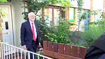 Corbyn serenaded as he leaves home