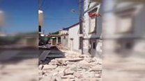 Midilli Adası'nda deprem sonrası ilk görüntüler