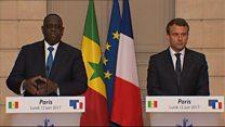 A l'Elysée, Sall et Macron évoquent la lutte contre le terrorisme