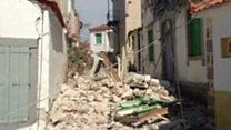 Quake rubble in the streets of Lesbos village