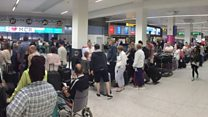 Queues as airport check-in fails