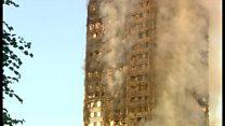 ロンドン高層住宅火災 朝も消火活動続き
