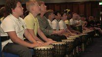 Children break drumming world record