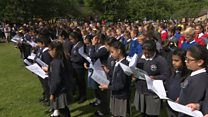 Schoolchildren come together to sing in memory of Jo Cox