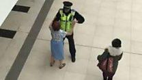 Policeman dances in shopping centre