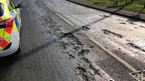 Hot weather causes roads to melt