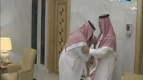 Old crown prince greets new crown prince