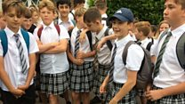 Schoolboys stay cool in skirts