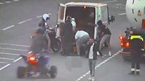 Bike crash footage shows 'van escape'