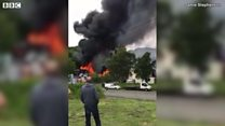 One hundred cars on fire at scrap yard