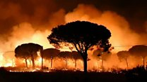 Spain wildfires threaten nature reserve