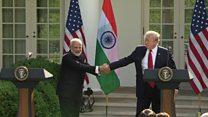 Indian PM Modi bear hugs Trump