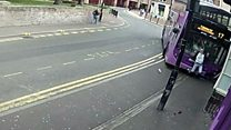 Dramatic moment man is hit by a bus in Reading