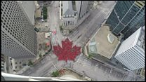 Crowds form 'largest living maple leaf'