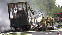 Firefighters at Germany bus crash scene