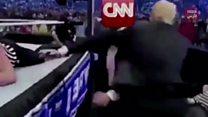 ویدئوی 'کُشتی ترامپ با سیانان' جنجالی شد