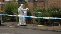 Forensic experts at scene of stabbing