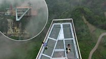Don't look down! Terrifying skywalk opens in China