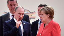 Merkel rolls her eyes at Putin