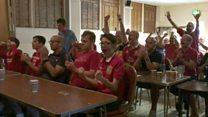 Fans celebrate penalty kick for draw