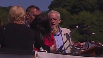 Corbyn interrupted during gala speech
