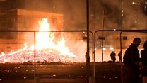 Bonfire burns close to Belfast flats