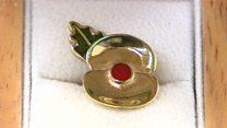 Poppy pins made from battlefield shells