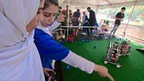 Afghan female robotics team lands in US