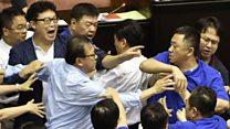 Taiwan's parliament resumes brawl