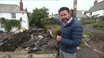Big clean-up begins in flood-hit Cornish village