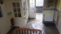 Flooding: Water pours through hospital
