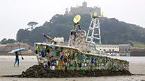 30ft warship made of plastic bottles
