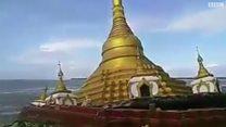 لحظة انهيار معبد بوذي في ميانمار