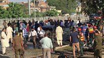 لاہور میں دھماکے کے بعد کے مناظر