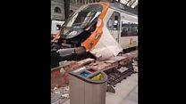 Video shows Barcelona train crash damage